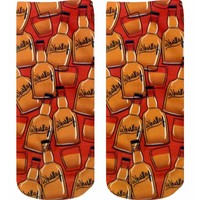 Red & Brown Whiskey Knit Ankle Socks
