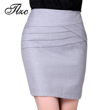 TLZC New Fashion Business Women Pencil Suit Skirt Size S-2XL Irregularity Line Design Elegant Lady Formal Bandage Skirts