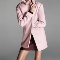 FOREVER 21 Textured Longline Coat Dusty Pink