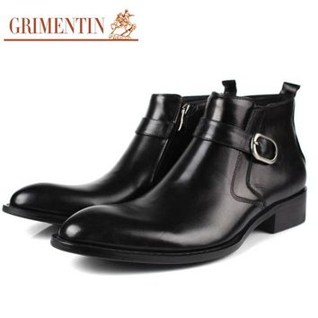 GRIMENTIN brand high quality mens ankle boots genuine leather black brown Italian handmade men wedding shoes