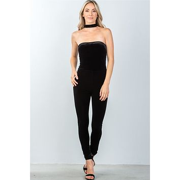 Ladies fashion zipper race back closure velvet choker jumpsuit