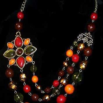 "Fall Flower 3 Strand Necklace Red Green Orange Thermoset Beads Bronze metal 20"" Vintage 1990s"