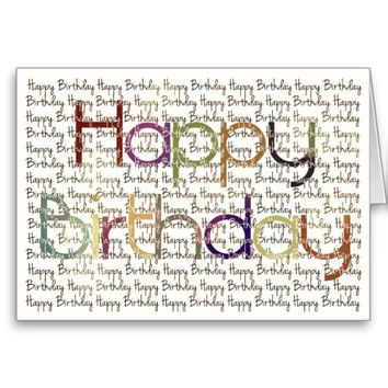 Happy Birthday Inverted Color Typography Card