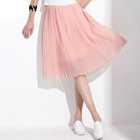 Women Long Chiffon Skirts Summer Pleated Black White Skirt School Maxi Bohemian Skirt