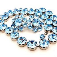 Vintage Fenichel Blue Crystal Necklace Earrings Set