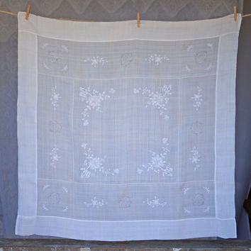 Exceptional Vintage Fine Linen Lace Tablecloth White on White Embroidered Floral Motifs with Hemstitched Borders and Lace Roses Supper Cloth