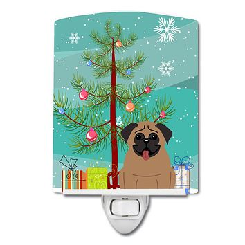 Merry Christmas Tree Pug Brown Ceramic Night Light BB4130CNL