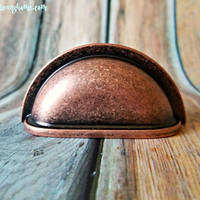 Copper Apothecary Pull Weathered Copper Bin Cup Pull Distressed Copper Drawer Pull Rose Gold Dresser Drawer Pull Industrial Farmhouse Decor