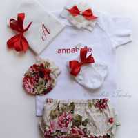 Newborn Girl Take Home Outfit 6 Piece Monogrammed Floral Red Rose Shabby Baby Girl Ruffle Diaper Cover Set New Baby Shower Gift Personalized