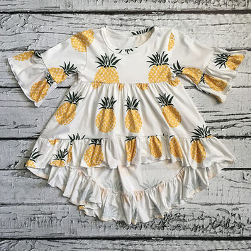Yellow & White Pineapple Hi-Low Dress - Infant, Toddler & Girls