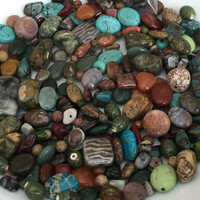 Stone Bead Destash, Bead Soup, Mixed Lot Beads, Variety Beads, Mixed Colors, Veined Beads, Crafting Beads, Jewelry Bead Destash