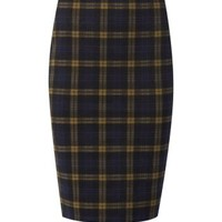 Navy and Yellow Check Pencil Skirt