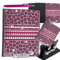 Jersey Bling® Ipad 2/3/4 Case in PINK Leopard with HUGE 3D Gems, Crystals, Rhinestones, & Faux Pearls Leather Folio with 360 Rotating Cover
