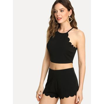 Black Scallop Trim Halter Top And Zip Up Shorts Co Ord