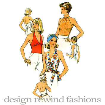 1970s Women's Sexy Disco Era Halter Tops 3 Variations Cocktail Evening Day Summer Tops Bust 32.5 Simplicity 6358 Vintage Sewing Patterns