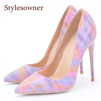 Colorful Pink Leather Pointy Toe High Heels Stiletto Pumps