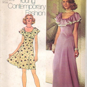Simplicity Retro 70s Sewing Pattern Maxi Mini Dress Boho Hippie Flower Child Peasant Dress Ruffle Neck Empire Waist Bust 32 Uncut