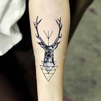 Waterproof Temporary Tattoo Sticker elk head deer bucks horn antlers henna tatto flash tatoo fake tattoos for men women 4