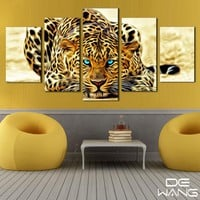 5 Pcs Canvas Animal Printing High Quality HD Cheap Price Great Art African Cheetah Pictures Modular Modern Home Decor Unframed