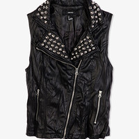 Crinkled Faux Leather Moto Vest