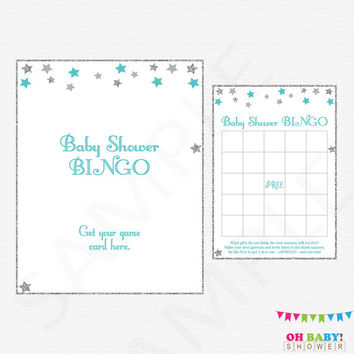 Silver Gray Teal Baby Shower Bingo Game Bingo Sign Twinkle Twinkle Little Star Baby Shower Games Boy Printable Instant Download STGST