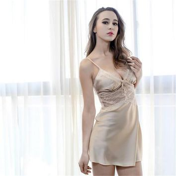 2017 Hot Summer Women Faux Silk Nightwear Fashion Ladies Sexy Nightdress Sexy New Nightgowns & Sleepshirts Lace Lingerie