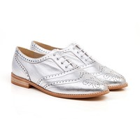 Beyond Skin Silver vegan oxford lace up brogue shoe