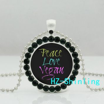 HZShinling Peace Love Vegan Necklace Herbivore Plants Jewelry Vegetarian Words Round Crystal Pendant Ball Chain Necklaces