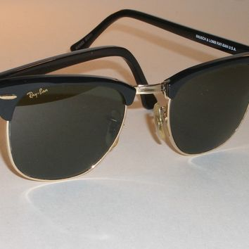 1980's 49MM VINTAGE B&L RAY BAN W0365 BLACK/GOLD BLEND G15 CLUBMASTER SUNGLASSES