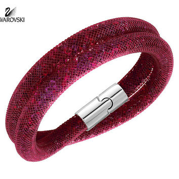 Swarovski Crystal STARDUST Red Ruby Double Bracelet Medium #5119411