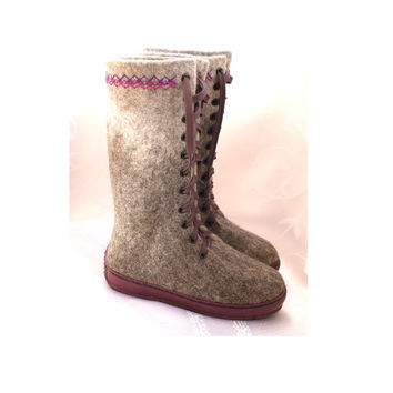 Outdoor felted shoes with rubber soles. Eco fashion shoes for women, woman. Felted boots for women.