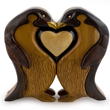 Hand Carved Wood Penguin Sculpture Puzzle Box - Penguins in Love | NOVICA