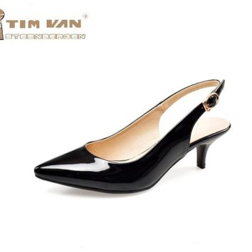 Women new fashion spring summer paint japanned leather pointed toe sandals 5cm low thin heels shoes large plus size 40-43