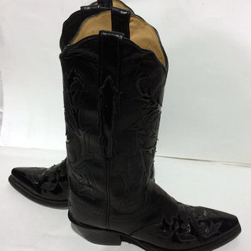 Lucchese Black Patent Leather Western Cowgirl Boots Women's Size 6
