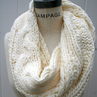Free Shipping Infinity Knit Scarf Chunky  Eternity Scarf Ivory Color Handmade 100% Acrylic Yarn  - by PIYOYO
