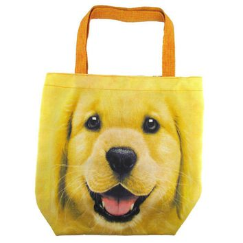 Golden Retriever Puppy Face Print Hemp Fabric Tote Shopper Bag | Gifts for Dog Lovers