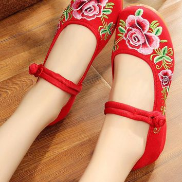 Chinese Peony Embroidery Asakuchi Flower Toe Ring Band Flats Shoes CK00525 Red Shoes