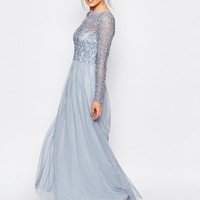 Frock and Frill Embellished Lace Overlay Maxi Dress