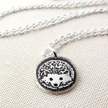 Tiny hedgehog necklace in silver  hedgehog by lulubugjewelry