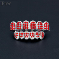 Iftec Gold Color Plated Iced Out Cz Rhinestone Hip Hop Teeth For Mouth Grillz Caps Top & Bottom Grill Set Vampire Teeth Jewelry