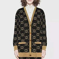 GUCCI New fashion more letter long sleeve top coat cardigan Black