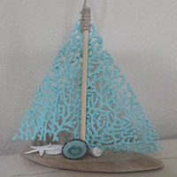 Beach Decor, Beach Christmas Ornament, Coastal Decor, Nautical Decor, Christmas Ornament, Sail Boat Ornament