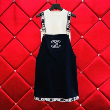 Chanel White Tank Top Skirtall Overall Set Two-Piece