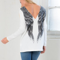White Wings Printed Backless Long-sleeve