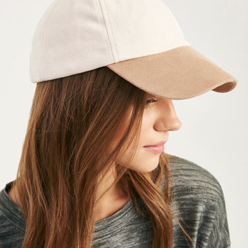 Two-Tone Faux Suede Baseball Cap | Wet Seal