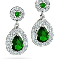 Bling Jewelry Crown CZ Simulated Emerald Bridal Teardrop Earrings Silver Plated