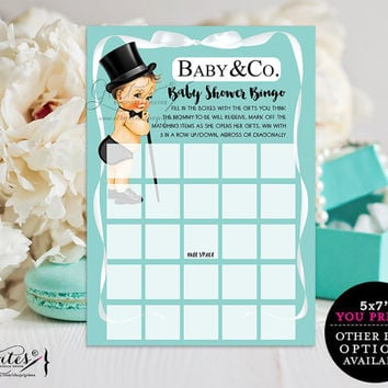 Baby shower bingo cards printable, vintage baby, baby and co company card party games, baby boy, blue themed games for baby. {You Print}