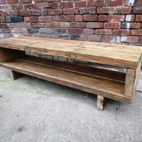 Industrial Chic Reclaimed Coffe table or Tv Unit Stand. Steel and Wood Metal Hand Made in Sheffield
