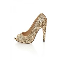 Gold Crystal Glitter Peep Toe Platform Shoes