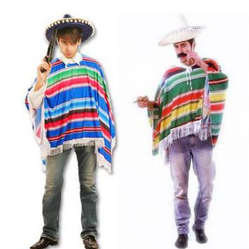 Hot Halloween cosplay costume masquerade exaggerated color mexican cloak Western Cowboy Clothing Lovers clothes Cowboy scarf